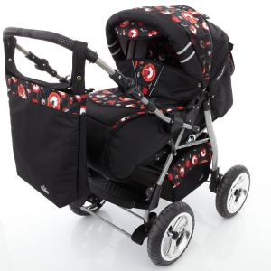 Lux4kids Icaddy - Poussette canne combinée 3 en 1 avec nacelle, siège auto cosy et chancelière