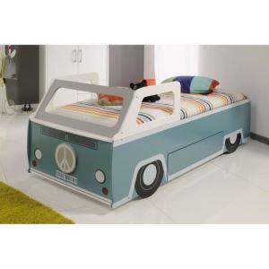 Lit voiture Cool Wagon avec rangement et sommier (90 x 200 cm)