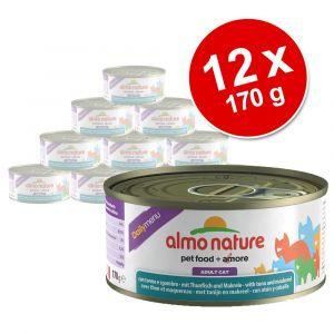 Almo Nature Nourriture humide pour chats 24 x 170 g au thon et riz
