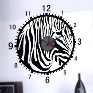 Horloge murale sticker Design Zèbre