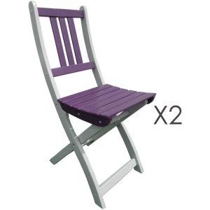 City green Burano - 2 chaises de jardin pliantes en acacia