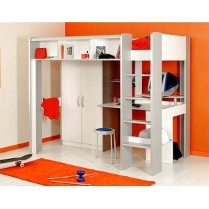 Lit mezzanine Igloo avec armoire 2 portes (90 x 200 cm)