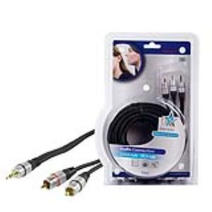 Hq HQSS3458/10 - Cordon audio haute qualité Jack 3.5 mm / 2x RCA mâles connecteurs plaqués or 10 m