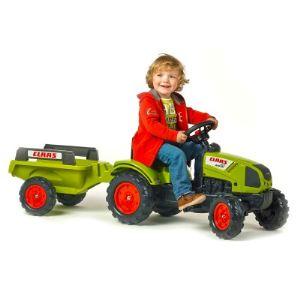Falk / falquet Tracteur à pédales Claas Arion 410 avec remorque
