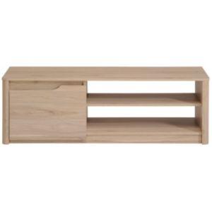 Moira - Meuble TV bas en bois 1 porte et niches L136 cm