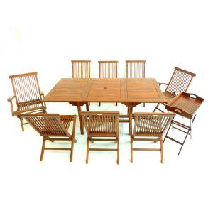 Wood-en-stock Table de jardin en teck avec 2 fauteuils, 6 chaises et 1 desserte