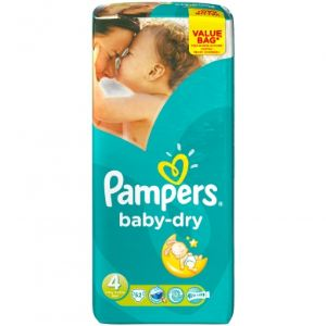 Pampers Baby-Dry taille 4 Maxi (7-18 kg) - Value Bag x 52 couches