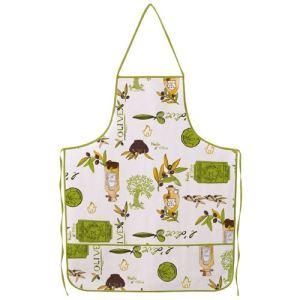 Bonita Tablier avec poche motif olives et huilles en toile cirée