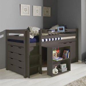 Vipack Furniture Lit Pino mezzanine, bureau , 2 commodes 4T/2P pour enfant