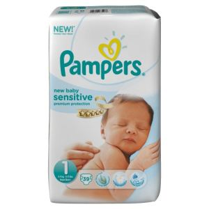 Pampers New Baby Sensitive taille 1 (2-5 kg) - 39 couches