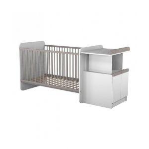 Ateliers T4 Lit bébé combiné évolutif 70 x 140 cm avec commode à langer