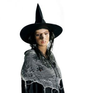 Ptit Clown RE74790 - Chapeau de sorcière tissu noir avec cheveux adulte