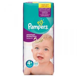 Pampers Active Fit taille 4+ Maxi Plus 9-20 kg - 50 couches