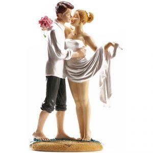 """Figurine couple de mariés """"Sur le Sable"""" (16 cm)"""