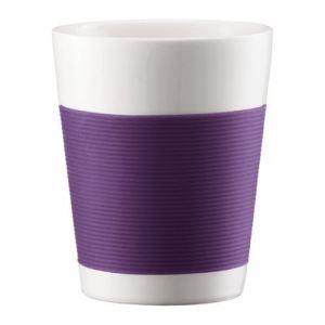Bodum 2 verres Canteen double paroi en porcelaine avec bande silicone (20 cl)
