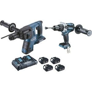 Makita DHR264 Perfo SDS Plus + DHP481 Perceuse à percussion + 4 batteries + coffret Mak Pac DLX2101PMJ