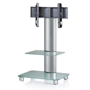 Vcm Meuble colonne Bilano pour TV avec pied et étagère en verre