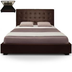 Menzzo Lit coffre avec tête de lit capitonnée en cuir (180 x 200 cm)