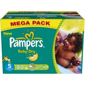 Image de Pampers Baby Dry taille 5 Junior 11-25 kg - Mega Pack 80 couches
