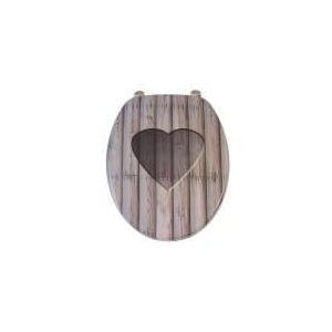 Gilac Abattant de toilette Romantique déco en bois MDF charnière inox siège WC standard