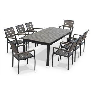 Alice's Garden Table de jardin à rallonge 205/260cm en bois composite avec 8 fauteuils