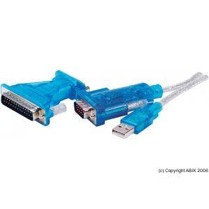Abix 151020 - Adaptateur USB 1.1 vers RS-232 / DB9 + DB25
