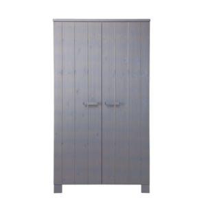 Armoire penderie Dennis 2 portes et 4 étagères en pin