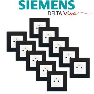 Siemens LOT 10 Prise 2P+T Blanc Delta Viva + Plaque Noir