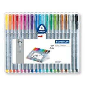 Staedtler Etui de 20 stylos feutres Fineliner triplus