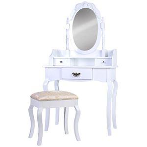 Coiffeuse avec tabouret, tiroir et miroir pivotant