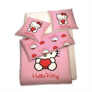 Hello Kitty - Housse de couette et taie en coton (140 x 200 cm)