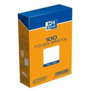 Oxford Boîte de 100 fiches bristol 224 g quadrillé 5x5 non perforées (75 x 125 mm)