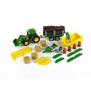 Klein 3907 - Tracteur John Deere avec benne basculante, remorque, char à bois et foin, charrue