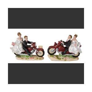 Figurine couple de mariés à moto (9 cm)