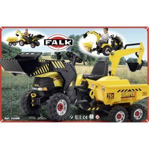 Falk Tacteur à pédales Power loader avec excavatrice et remorque