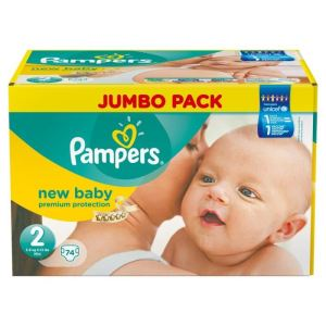 pampers new baby taille 2 mini 3 6 kg jumbo pack 74. Black Bedroom Furniture Sets. Home Design Ideas
