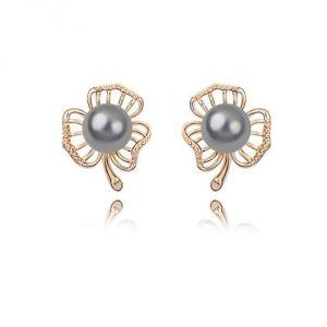 Blue Pearls Bps B306 W - Boucles d'oreilles Fleur en plaqué or