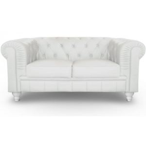 Square deco Canapé 2 places Chesterfield en cuir