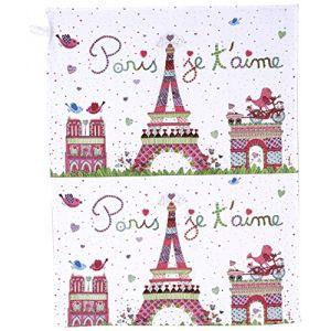 Fox Trot Torchon de cuisine Paris je t'aime en tissu (70 x 50 cm)