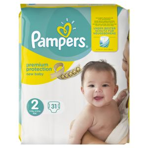 Pampers Premium Protection New Baby taille 2 Mini 3-6 kg - 31 couches