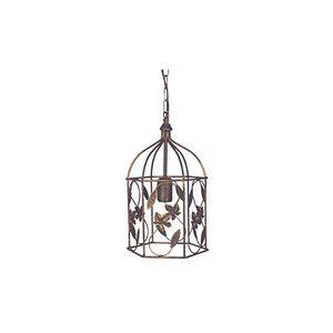 Tosel Suspension cage en métal décor Feuilles et reflets or Ø22 cm