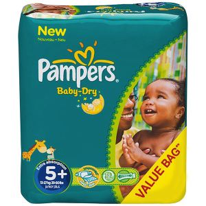 Pampers Baby Dry taille 5+ Junior+ (13-27 kg) - Pack économique x 132 couches