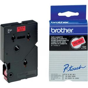 Brother TC-401 - Ruban laminé de 12 mm noir sur rouge