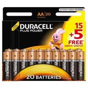 Duracell Jeu de piles 15 + 5 gratuites Alcaline 1,5V LR06 AA