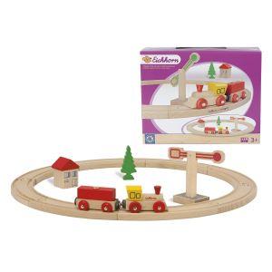 Eichhorn Petit train en bois forme circulaire 15 pièces