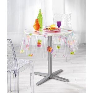 Macarons - Nappe ronde cristal (140 cm)