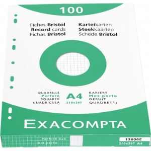 Exacompta Etui de 100 fiches bristol 205 g quadrillé 5x5 et perforées (A4)