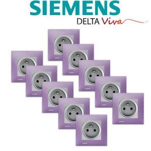 Siemens LOT 10 Prise 2P+T Silver Delta Viva + Plaque Violet