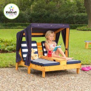 KidKraft Double chaise longue avec porte-gobelets pour enfant