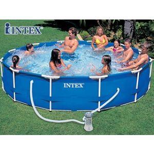 Intex 28218fr piscine hors sol tubulaire ronde pvc acier 366 x 84 cm - Piscine tubulaire intex castorama ...